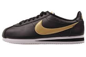 Nike Womens Wmns Classic Cortez Leather Hk Black Metallic Gold White