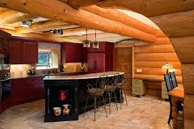 red painted kitchen cabinets rustic with breakfast bar cabin ceiling image by and company chalk paint