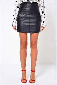 more views connery faux leather skirt