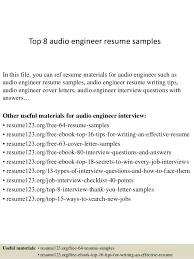 Top 8 audio engineer resume samples In this file, you can ref resume  materials for ...
