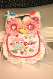 owl baby shower girl pink diaper cake