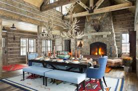 if you have a large space try adding two antler light fixtures this large cabin has a lot of places for your eyes to wander to