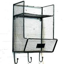 wire baskets for wall shelf with metal mounted basket storage bins fruit decor mountable canada gray