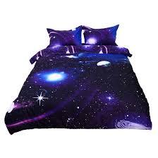 galaxy sky cosmos night pattern queen size 4pcs bedding duvet set dark purple 0