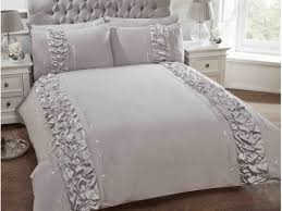 grey silver luxury bedding set duvet cover with frill and diamante strips