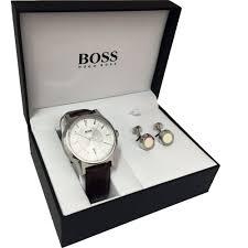 hugo boss men s leather watch steel cufflink gift set watches hugo boss men s leather watch steel cufflink gift set 1570032