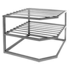 Kitchen Rack Seville Classics 2 Shelf Iron Corner Kitchen Cabinet Organizer