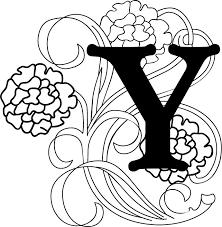 白黒モノクロの花文字イラストフリー素材英語の大文字no986花