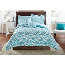 Teal Bedroom Furniture Mainstays Watercolor Chevron Bed In A Bag Coordinated Bedding Set