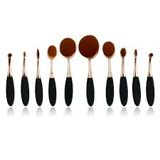 oval makeup brush. black \u0026 gold mermaid oval brush 10 piece set makeup e