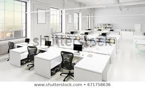Modern office space Home Modern Office Space With City Background 3d Illustration Shutterstock Modern Office Space City Background Stock Illustration Royalty