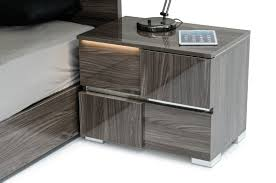 lacquer furniture modern. modrest picasso italian modern grey lacquer nightstand w led light furniture