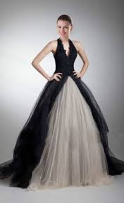 buy gorgeous a line v neck halter black wedding dress from cheap