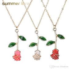 whole new fashion rose flower choker necklace for women elegant pink red pendant necklace trendy valentine s day present whole white gold pendant