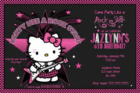 Hello Kitty Birthday Party Invitations Photo Rockstar Printable File