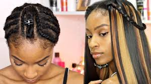 Middle Part Braid Pattern Simple Braid Pattern For Middle Part Upart Wig With Leave Out YouTube