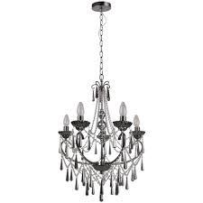 volta 5 light chandelier smoked glass