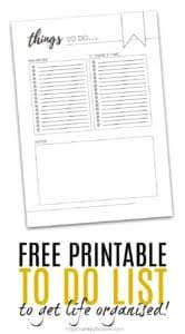 Free Printable To Do List To Get Life More Organised Right Now