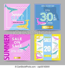 Flyers Theme Summer Sale Banners With Cute Whales Promotional Design Template For Posters Flyers Summer Discount Background Marine Theme Vector Illustration