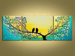 3 piece abstract modern canvas wall art decorative tree artwork yellow picture oil painting on canvas