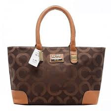 Newest Coach Madison In Signature Large Coffee Totes AQL