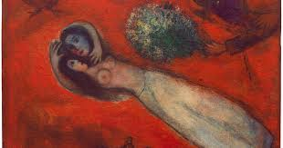 marc chagall les amants au ciel rouge in the red sky 1950 sfmoma