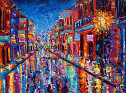 New Orleans Painting - A Cool Night On Bourbon Street by Elaine Adel Cummins