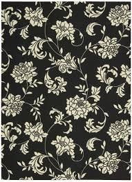 nourison indoor outdoor home garden black fl scrollwork rug 5 3 x
