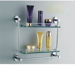 brilliant bathroom glass shelf with towel bar chrome thedancingpa bathroom glass shelves brushed nickel prepare