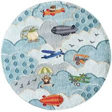 momeni ca collection sky blue 5 ft x 5 ft indoor round area rug