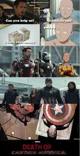 Civil War, death of captain america, One punch man, marvel - 9GAG via Relatably.com
