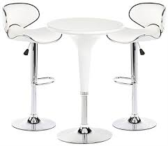 white trade show table and chairs with chrome accents