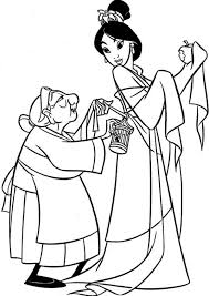 Small Picture Grandmother Fa Helps Mulan Getting Dressed Coloring Page