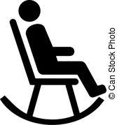 rocking chair silhouette. Man In Rocking Chair Pictogram Silhouette L