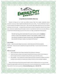 emerald city energy comprehensive installation warranty
