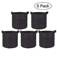 Zilong 5 Pack 3 <b>Gallon</b> Grow Bags Breathable Nonwovens <b>Fabric</b> ...