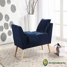 navy blue bench. Navy Blue Mid-Century Storage Bench With Pillow And Blanket M