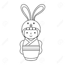 ウサギ ベクトル イラスト デザインの変装でかわいい日本の人形