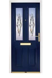enchanting dark blue composite door with unique door glass design