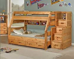 image of wooden twin loft bed with stairs and storage