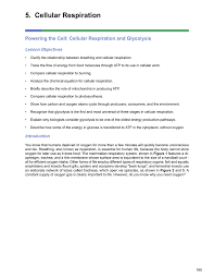 cellular respiration powering the cell cellular respiration and glycolysis lesson objectives