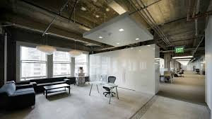 office industrial design. Office, Cool Industrial Office Design Ideas Also Black Sectional Sofa And White Permanent Dividers Plus E
