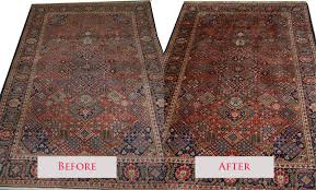 a before and after picture of a kashan rug after our expert persian rug cleaning service