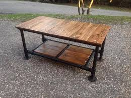 diy pallet iron pipe. Recycled Pallet Coffee Table With Threaded Metal Pipe Base Diy Iron