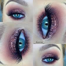 rose gold smokey eye look for blue eyes