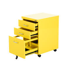 File Cabinets With Wheels Homcom 3 Drawers Metal Filing Cabinet Lockable W Wheels Grey