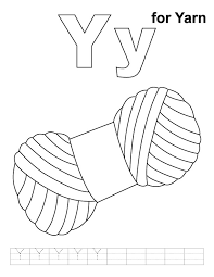 Small Picture Y for yarn coloring page with handwriting practice Download Free