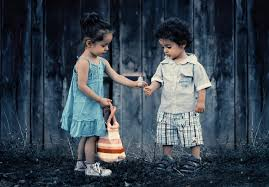 a cute little and boy romantic
