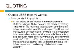 essay in media violence