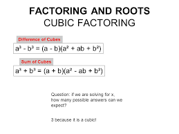 factoring and roots cubic factoring